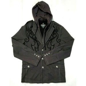 Roar Mens Hoodie Blazer Jacket Gray Size Medium